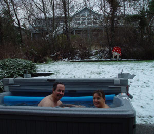 Kathy and Chuck in the snow ... in the hot tub